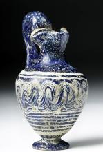 Greek Core-Formed Glass Oinochoe - Cobalt Blue / White