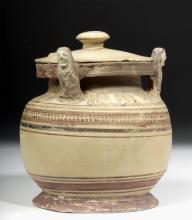 Corinthian Pottery Lidded Pyxis w/ Caryatids