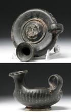 Greek Campanian Blackware Guttus - Athena