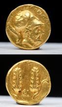 Greek Lucanian Metapontion Gold Third Stater