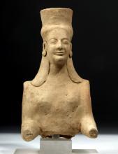 Western Greek Terracotta Statue of Goddess w/ Polos