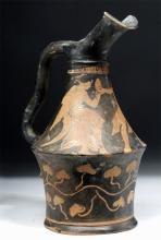 Superb Greek Apulian Red-Figure Oinochoe
