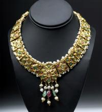19th C. Indian Mughal Gold / Emerald / Ruby Necklace