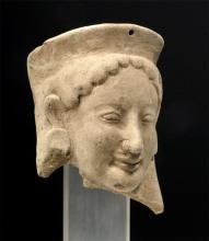 Fine Archaic Greek Earthenware Protome of Goddess