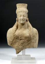 Archaic Greek Earthenware Votive of Goddess