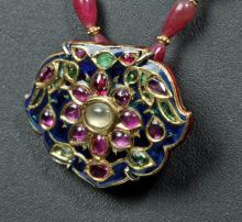 Indian Mughal Gold, Gemstone & Enamel Necklace & Slide