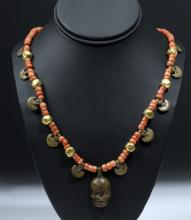 18th C. Indian Naga Necklace - Carnelian, Bronze