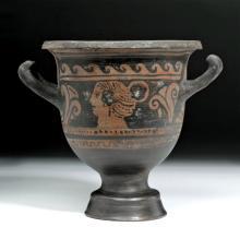 Greek Apulian Red-Figure Pottery Bell Krater