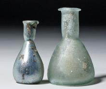 Lot of 2 Ancient Roman Glass Vials
