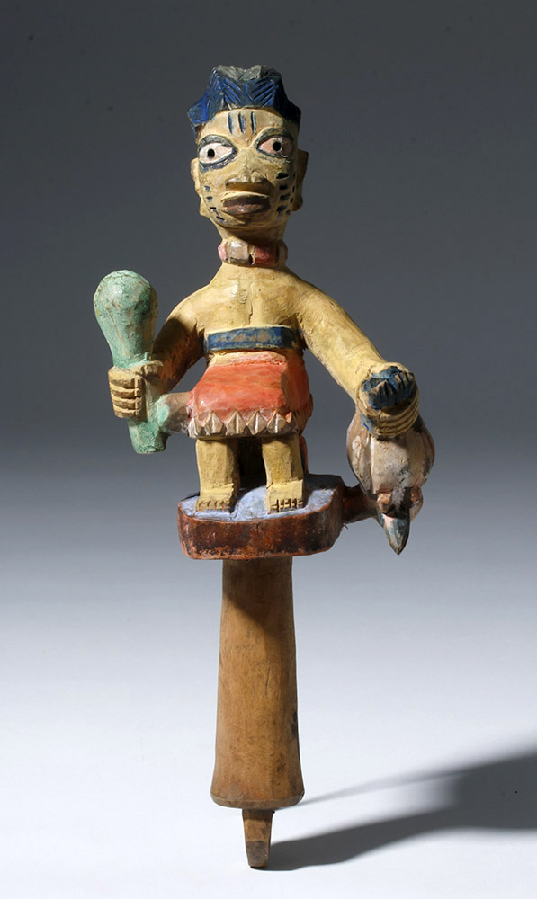 20th C. Yoruba Painted Wood Ose Sango Staff