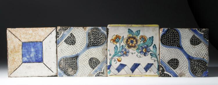 Four 17th C. Spanish Glazed Tiles, ex-Historia