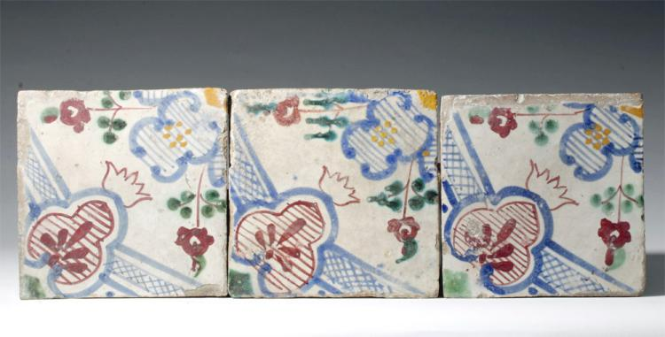 17th C. French Glazed Terracotta Tiles, ex-Historia