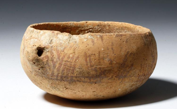 Ancient Anatolian Bowl - Linear Design w/ Face