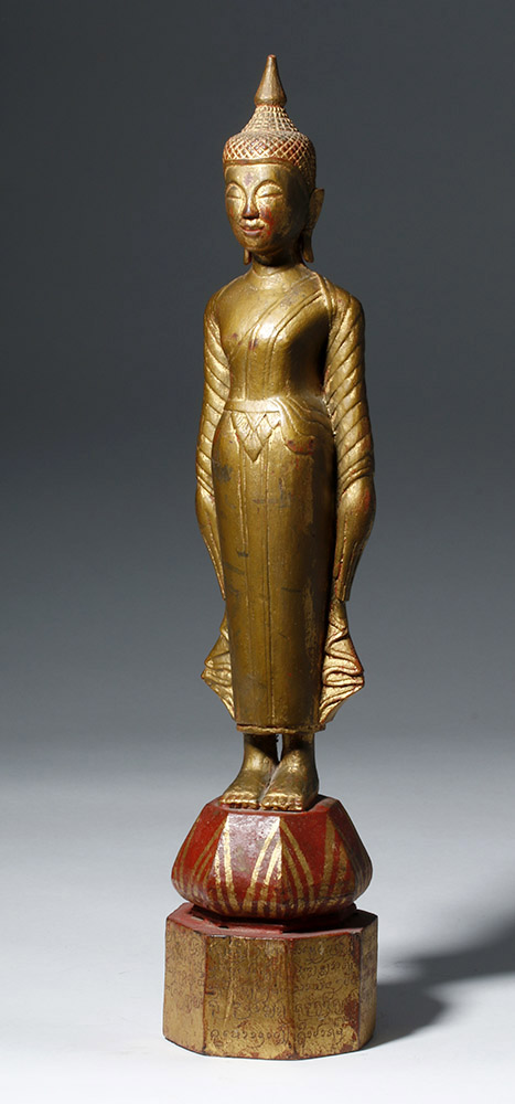 19th C. Laotian Gilded Wooden Standing Buddha