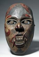 19th C. Indonesian Kayan Painted Wood Mask