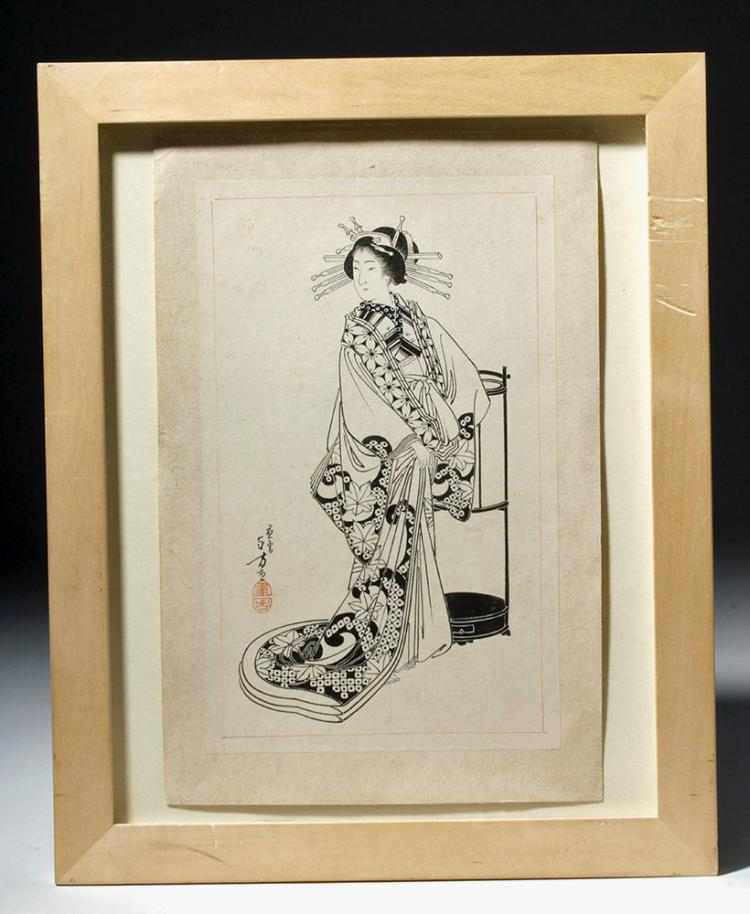 19th C. Toshikata Woodcut - An Elegant Court Lady