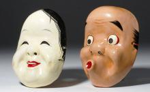 Pair of Japanese Plaster Masks