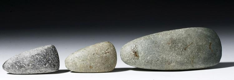 Trio of Native American Woodlands Stone Hand Axes