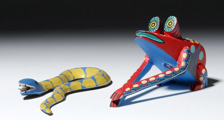 Signed 20th C. Oaxacan Painted Wood Animals (2)