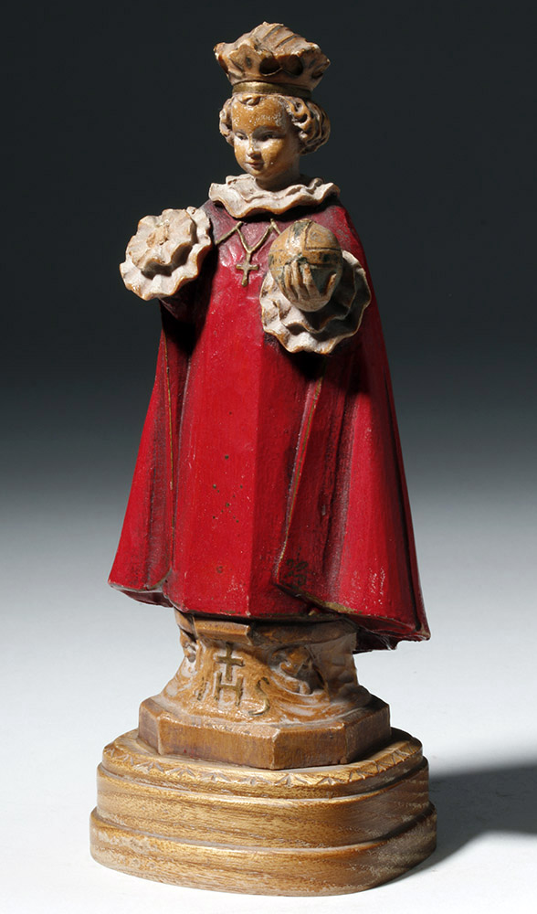 Early 20th C. Italian Painted Wood Figure of Saint
