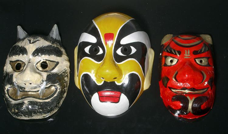 Pair of Japanese Papier Mache & One Chinese Resin Mask