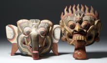 Pair 1950s Bali Painted Wood Festival Masks - Demons!