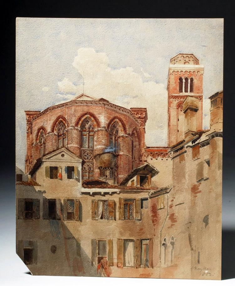 1853 Watercolor of a Romanesque Church - J. Haykar