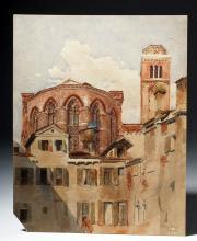 1853 Watercolor of a Romanesque Church - J. Haykar