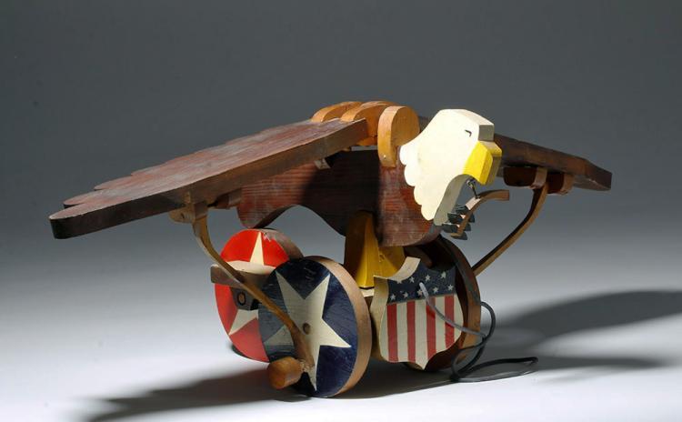 20th C. American Folk Art Wood Pull Toy - Eagle