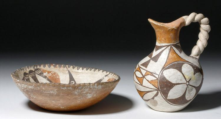 Early Acoma Polychrome Pottery Bowl and Pitcher
