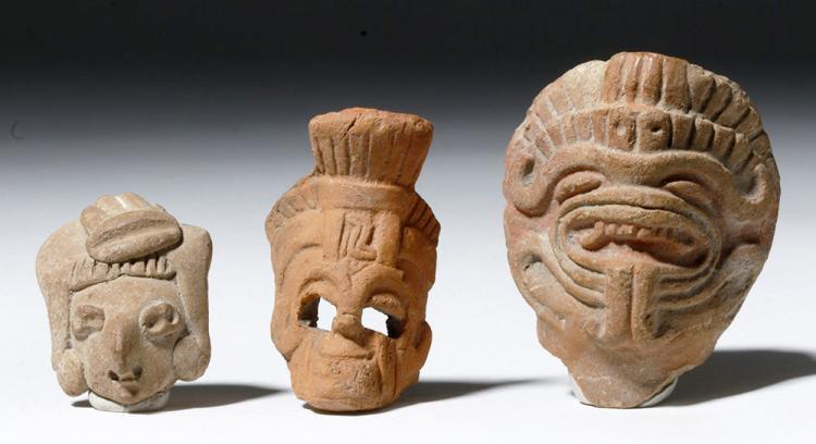 Trio of Pre-Columbian Pottery Masks Aztec & Chupicuaro