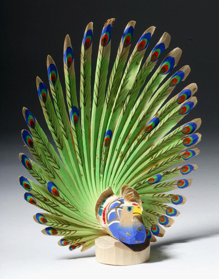 Incredible Sasano-Bori Wooden Peacock