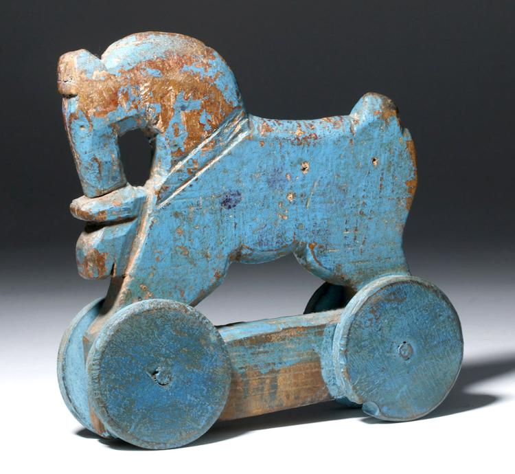 Latin American Folk Art Wood Toy - Blue Horse on Wheels