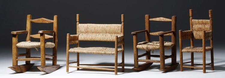 Group of 4 Mini MexicanWood / Rafia Furniture Pieces