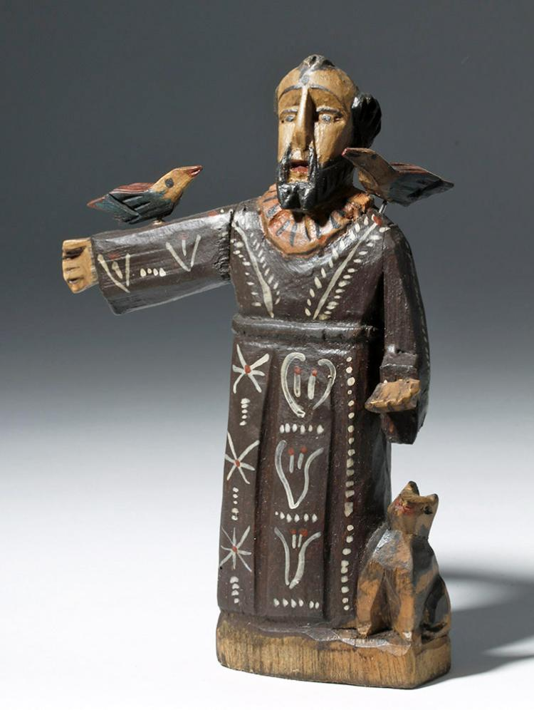 20th C. New Mexican Wood Santo - Francis of Assisi