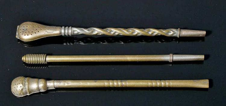 Pair 20th C. Yorbamate Spoons (Bombilla) from Argentina