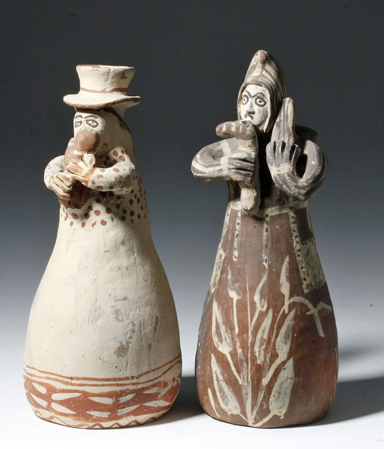 20th C. Peruvian Figural Pottery Candlesticks (pr)