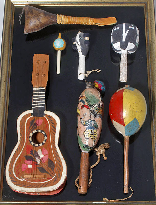 Group of 6 Folk Art Pieces- Rattles & Guitar