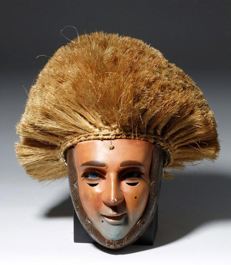 Mexican Wood and Fiber Dance Mask & Wig