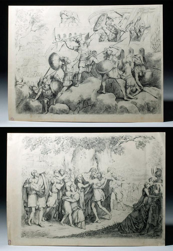 Pair 19th C. Charcoal Drawings - Roman Battle Scenes