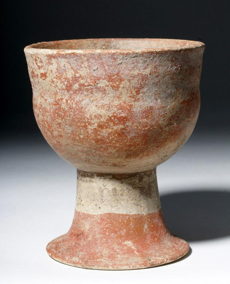 Thai Red & White Pottery Ban Chiang Chalice