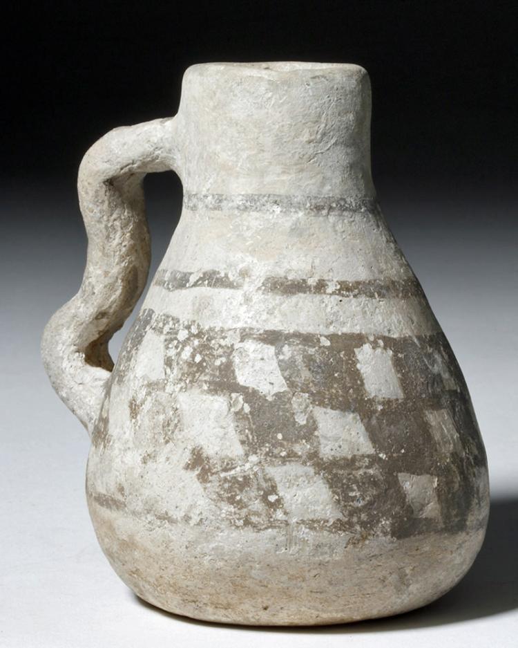 Small Anasazi Black on White Pottery Pitcher