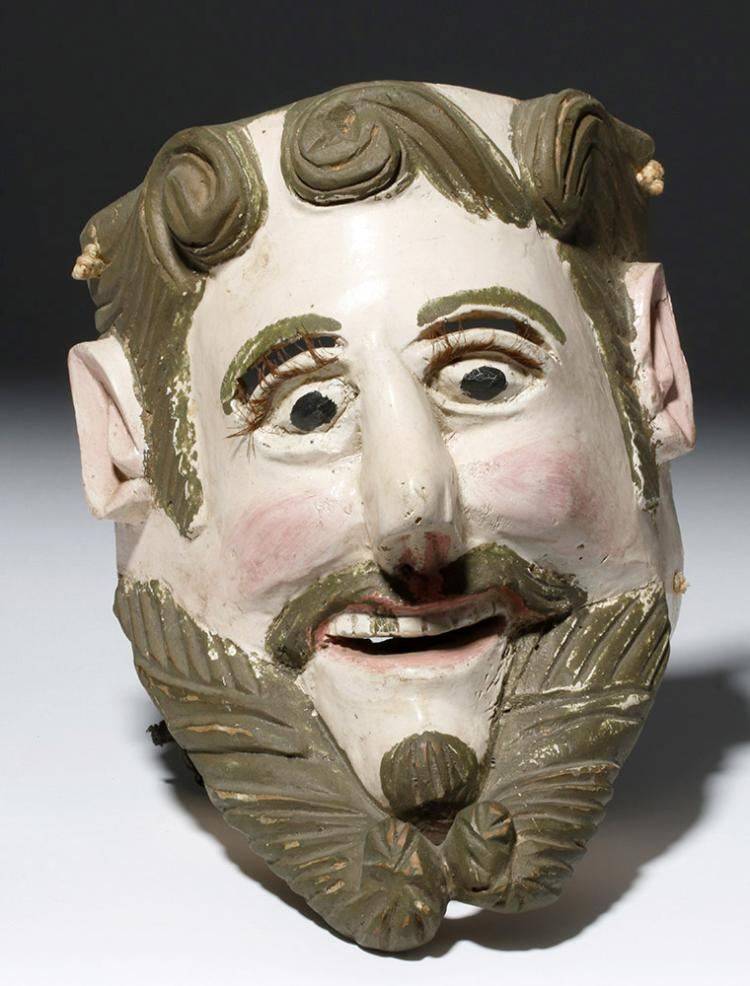 Early & Fine Guatemalan Wooden Mask - Conquistador