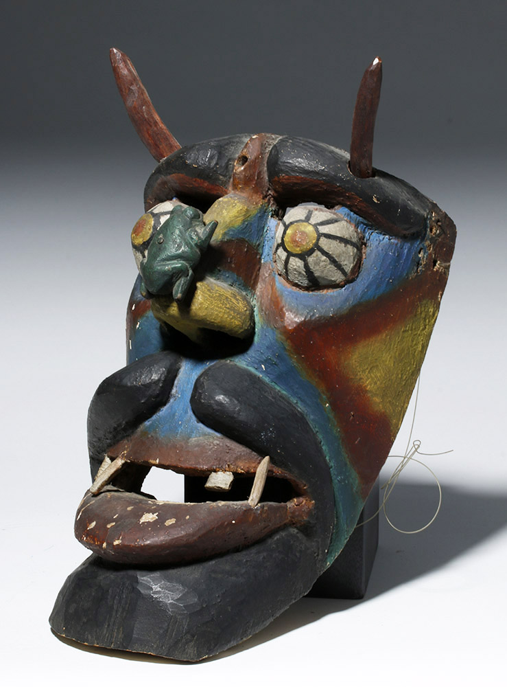 Rare Latin American Wooden Devil Dance Mask