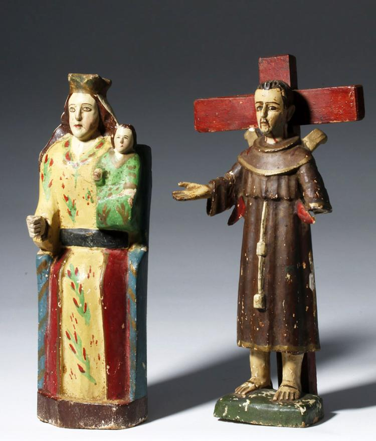 Two Mexican Carved Wooden Santos - Early 20th C
