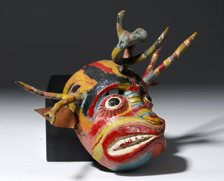 Early 20th C. Guatemalan Colorful Dance Mask - Devil