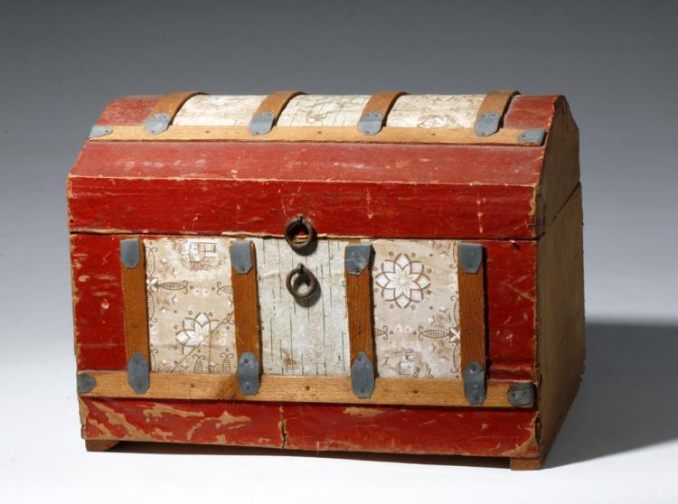 20th C. Mexican Folk Art Wood Chest with Floral Designs