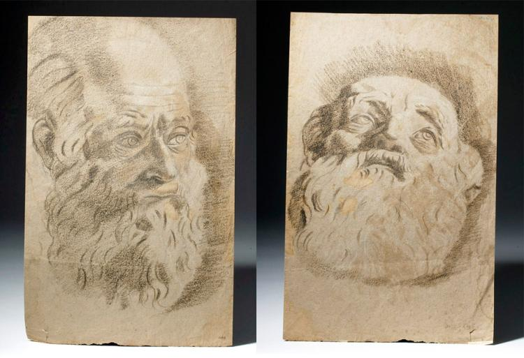 17th C. Italian Double-Sided Drawing, Old Bearded Man