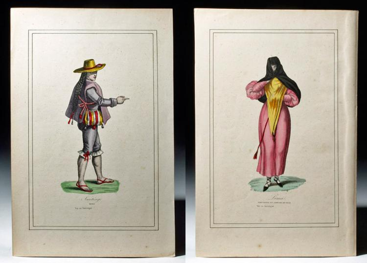 19th C. French Etchings Pair - Voy en Amerique
