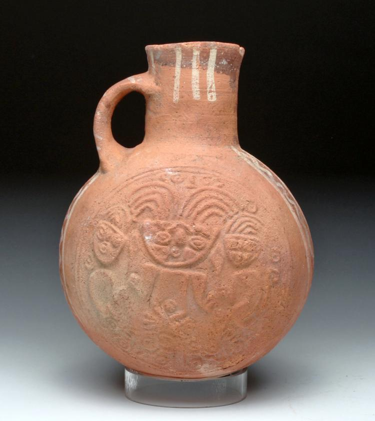 Pre-Columbian Strap-Handled Pottery Jar